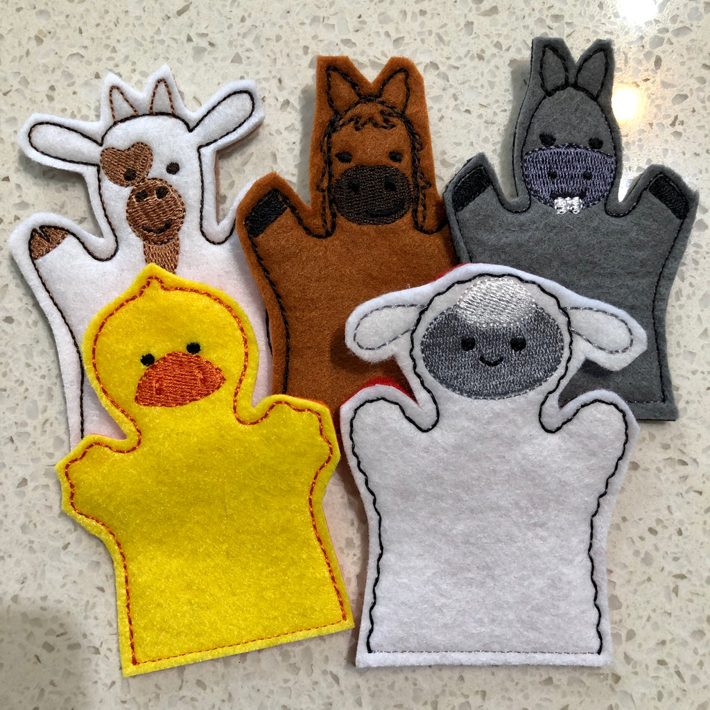 5 Mystery Farm Felt Finger Puppets (animals selected at random)