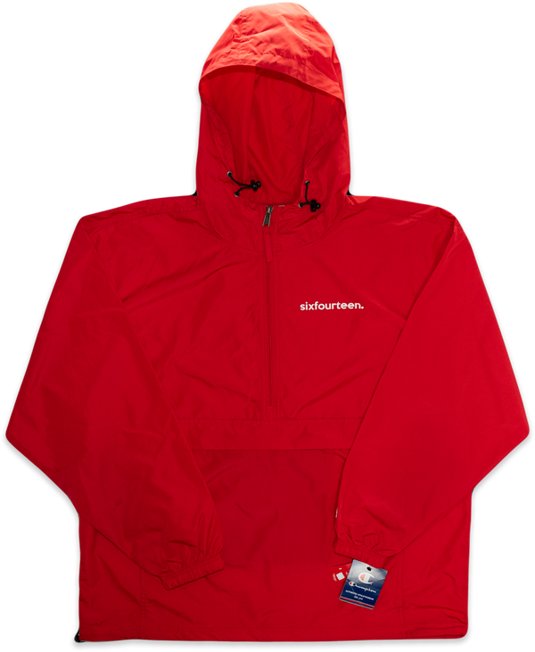 red windbreaker jacket