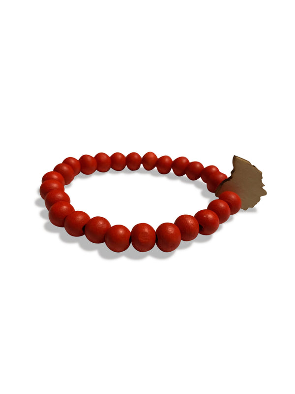 ohio wooden bracelet red