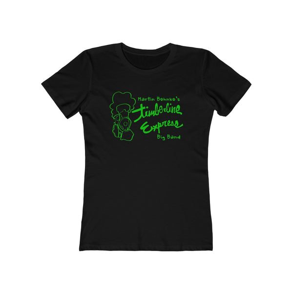 Women's TEBB Green Print The Boyfriend Black Tee