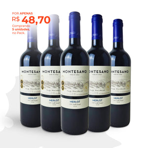 Pack com 5 Montesano Merlot 2020 750ml