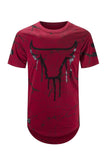 NEW Me Bulls T-Shirt Tee Longline Tailed Shirt Paint Splatter Sizes S-2XL Bull