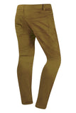 New Men Biker Twill Joggers Double Needle Stacked Slim Fit