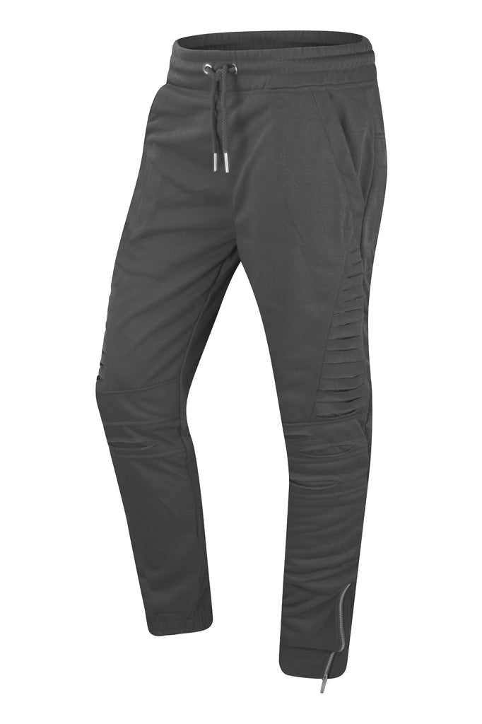NEW Men Ripped Joggers Ankle Zipper