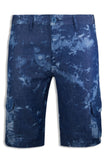 Men Acid Wash Ink Cargo Shorts Blue 6 Pocket Short White ALL SIZES Buttons Zip