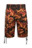 NEW Men Caro Army Camo Shorts Brown Red FREE BELT 6 Pockets Military Short