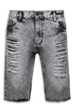 NEW Men Denim Gray Ripped Shorts Distressed ALL SIZES Belt Loop Jean Short Rips