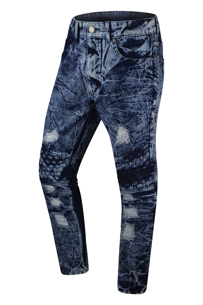 NEW Men Biker Denim Ripped Jeans Quilted Knees