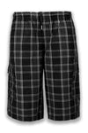 NEW Men Plaid Cargo Shorts Elastic Waist BIG & Tall S-5XL Drawstrings 5 Colors