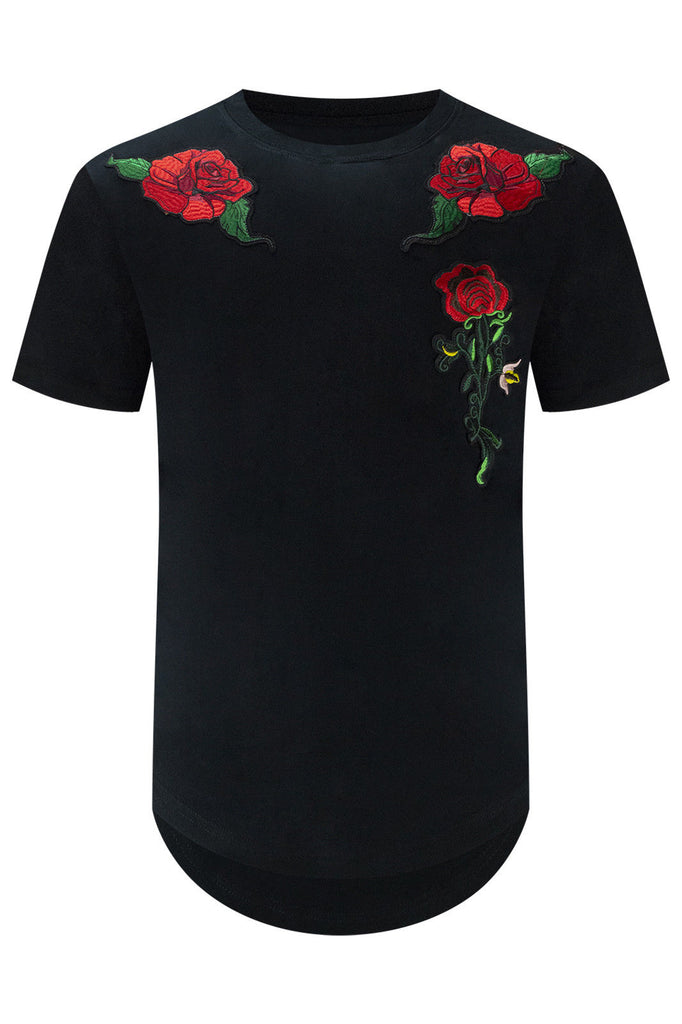New Men Embroidered Roses Patch T-Shirt