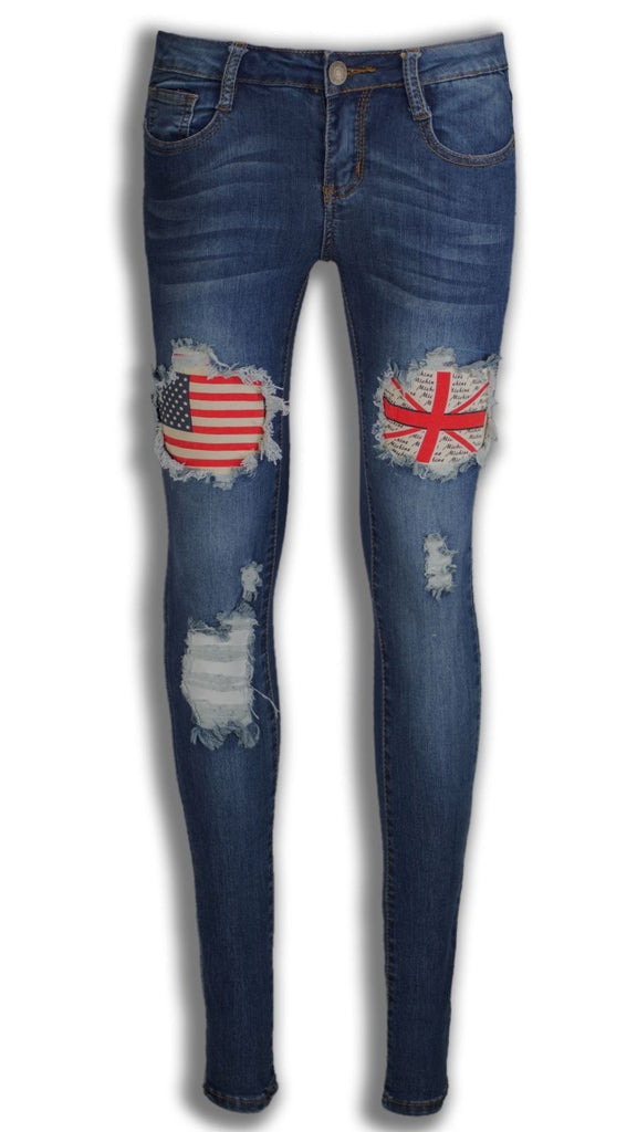 NEW Women Ladies Ripped Jeans USA Britain Flags Distressed Skinny Fit Slim