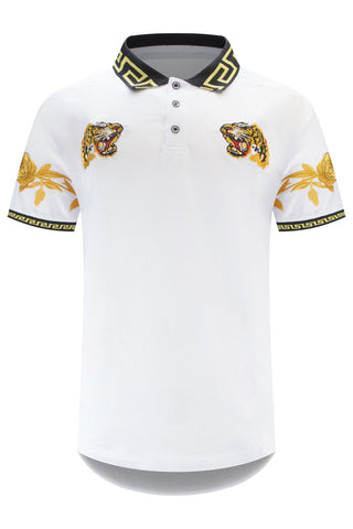 NEW Men White Tiger Polo Shirt Henley