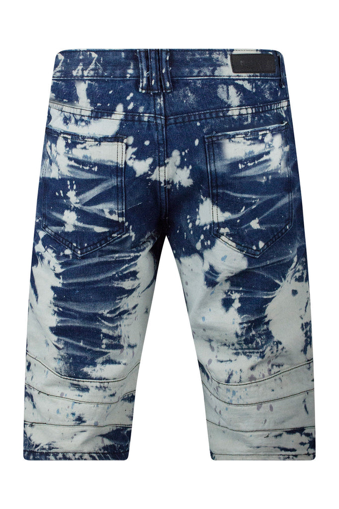 New Men Biker Denim Blue Shorts Paint Splattered