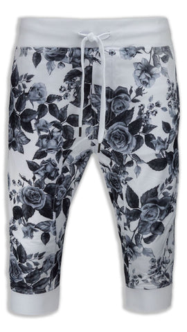 New Men Capri Floral Print French Terry Joggers Shorts White Black Flowers