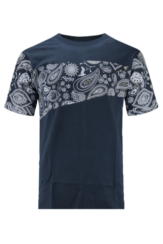NEW Men Bandana Print Navy Blue Shirt Short Sleeve 2 Tone Shirts Sizes S-2XL