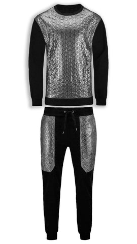 NEW Men Seat Suit Chrome Silver Track Suit Joggers Jacket Quilted BIG & TALL