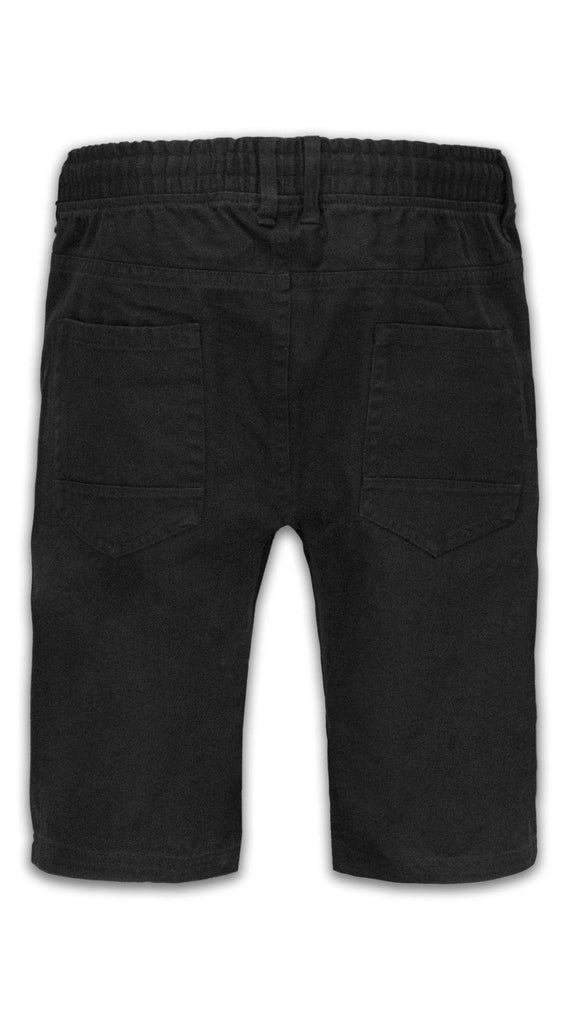 NEW Men Twill Slim Fit Shorts Black Elastic Waist Drawstrings Denim Pockets