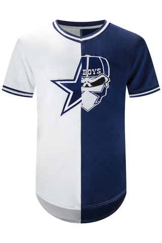 New Men Cowboys Blue White Skull Jersey