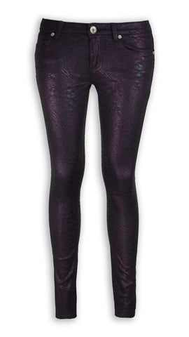 NEW Women Fashion PURPLE Shiny Pants Jeans Pants Skinny Fit ALL SIZES