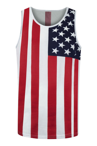 NEW Men USA US Tank Top American Flag Sizes S M L XL 2XL Stars and Stripes