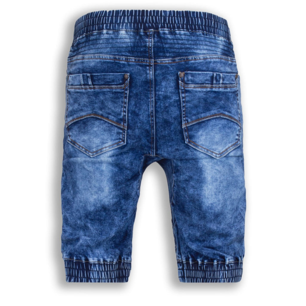 NEW Men Denim Jogger Shorts Jean Elastic Waist 4 Pocket Blue Short Sizes 30-40̴Ì_