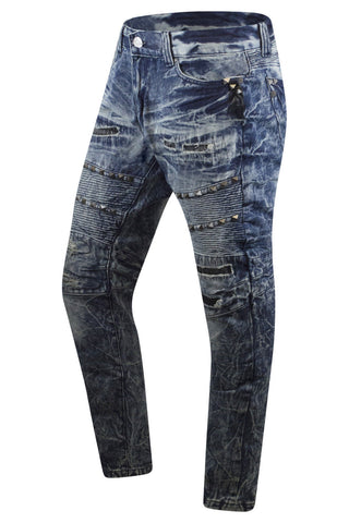 New Men Biker STUDS Premium Denim Jeans Skinny Fit