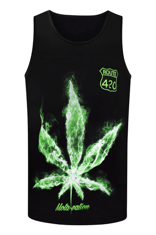 NEW Men Cali Weed Tank Top Route 420 Bud Smoke Ca LA Sizes