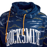 Men Sweater Rocksmith Size 3XL Navy Pullover Hooded Long Sleeve Shirt Mountains