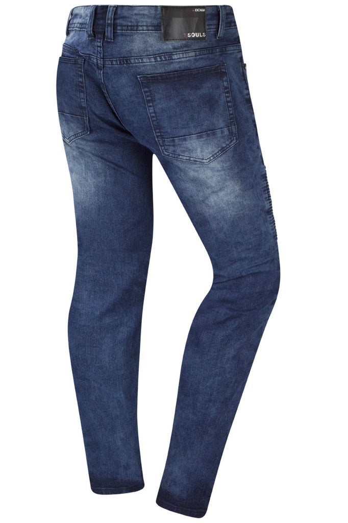 New Men Biker Denim Premium Blue Jeans