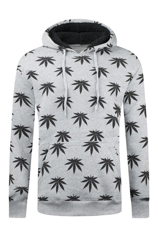 New Men Weed Hooded Pullover Sweater Long Sleeve Fleece Crewneck Sizes S-2XL
