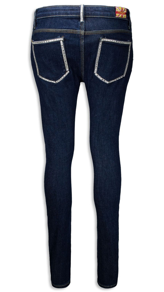 NEW Women Fashion Ripped Rhinestones Jeans Distressed Skinny Slim Fit ALL SIZES