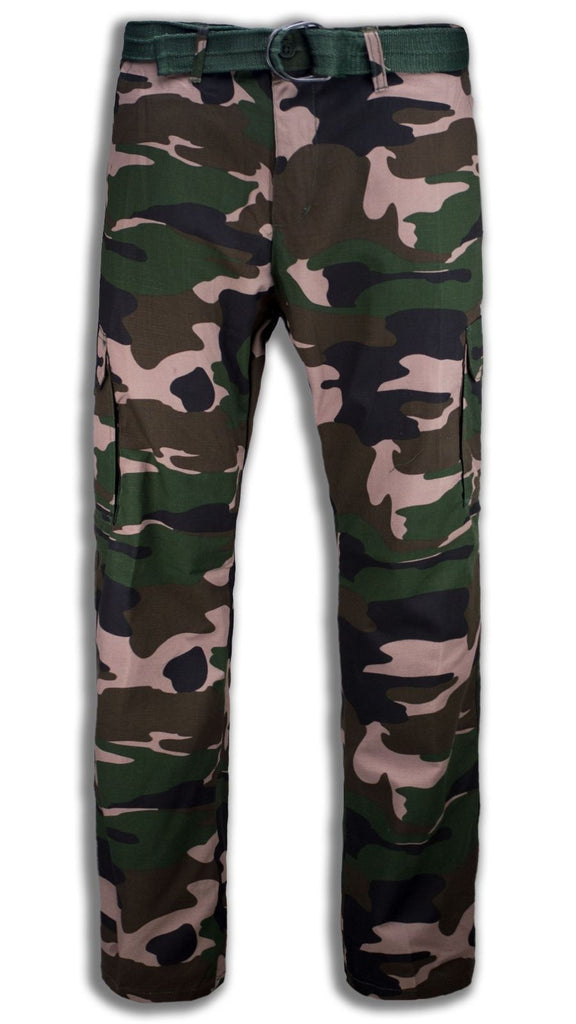 NEW Men Camo Army Cargo Pants FREE BELT All Sizes Green Pocket Navy