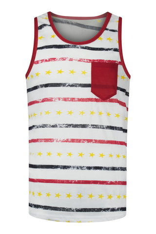 NEW Men White Tank Top Strips Chest Pockets Golden Stars Red Blue Sizes S M L XL