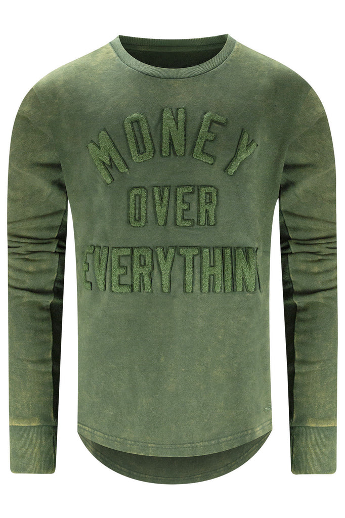 New Men Money Over Everything Crewneck