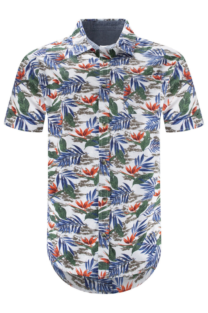 Men Jungle Print Button Up Shirt