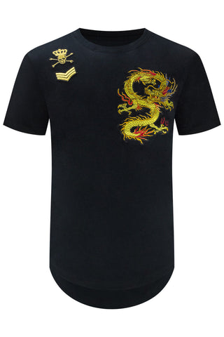 New Men Embroidered Patch Dragon T-Shirt