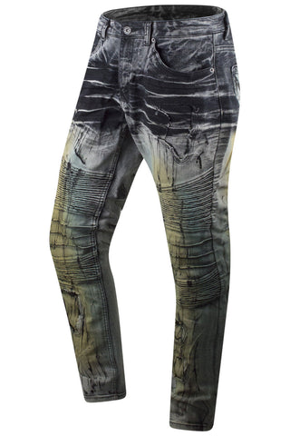 New Men Track Jeans Paint Splattered Slim Fit