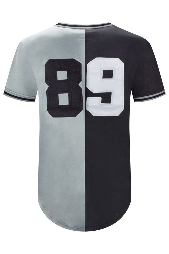New Men Black Silver Longline Jersey