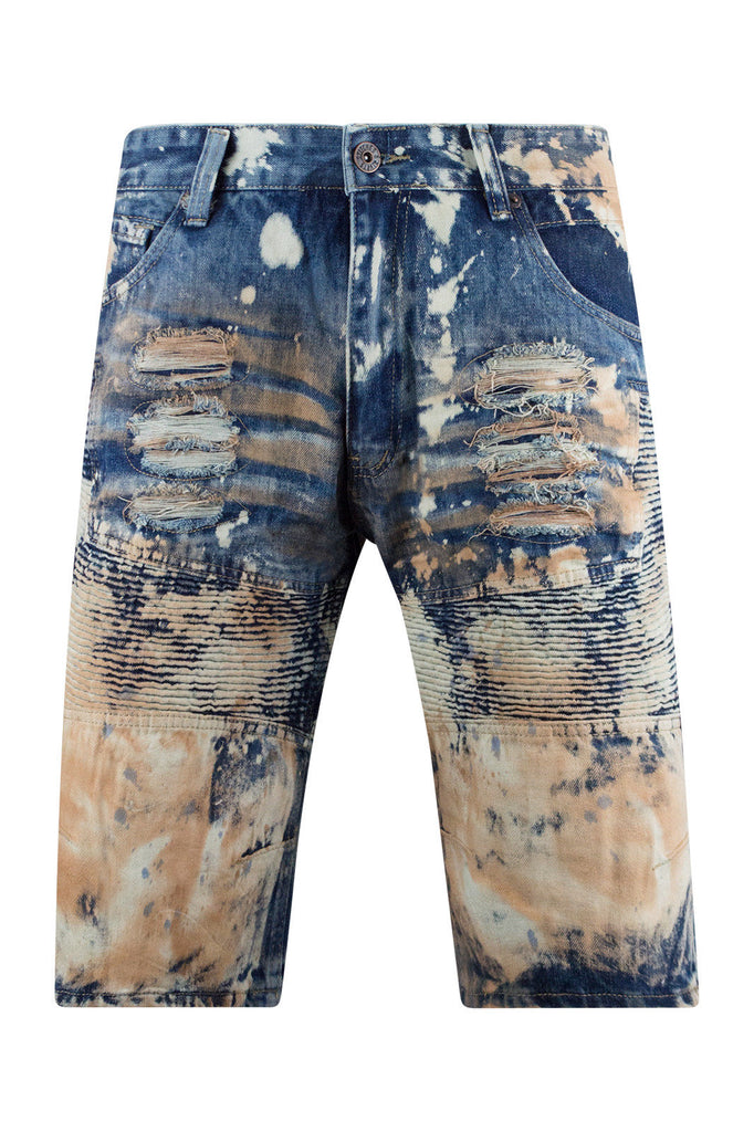 New Men Biker Paint Splattered Denim Shorts