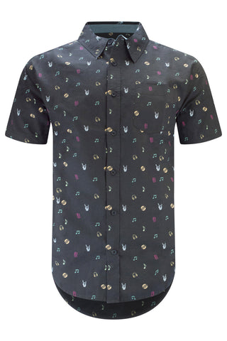 Men Button Up Shirt Black Music Notes Print