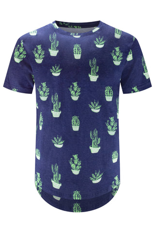 New Men Cactus Printed Blue T-Shirt