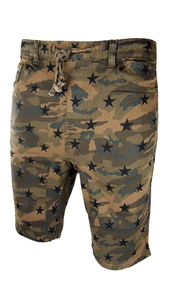 Men Twill Army Shorts Camo Brown Stars Short Slim Fit ALL SIZES
