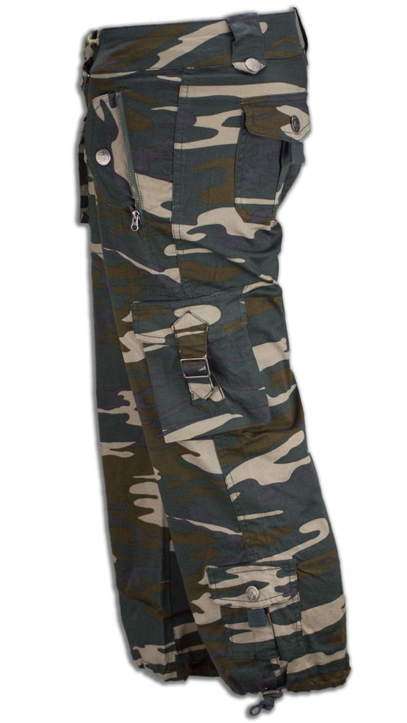 aaac0f5863f01 NEW Women Capri Cargo Camo Pants Side Pockets Green ALL SIZES Stretchy