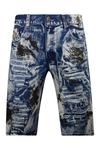 New Men Ripped Blue Distressed Denim Shorts