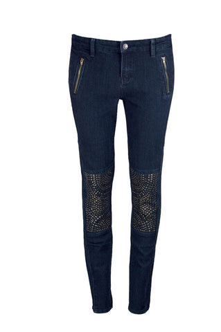 NEW Women Denim Blue Stretchy Skinny Slim Jeans Pants Gold Studs Jewelry Knee