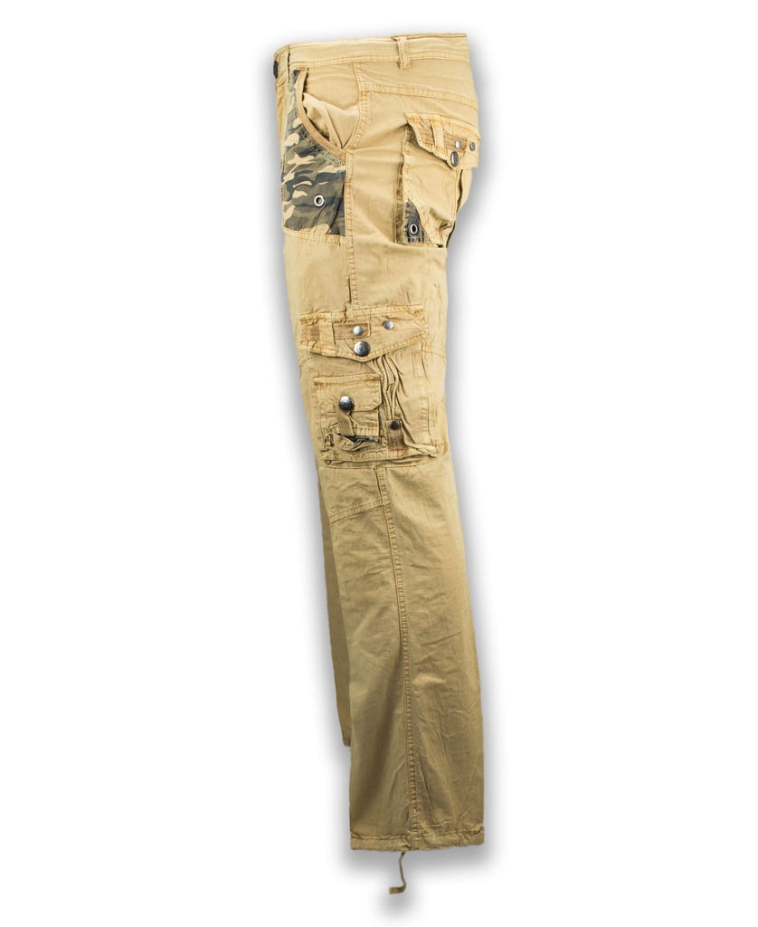 NEW Men Cargo Pants Camo Khaki Side Zipper Pockets Drawstrings Zipper Army