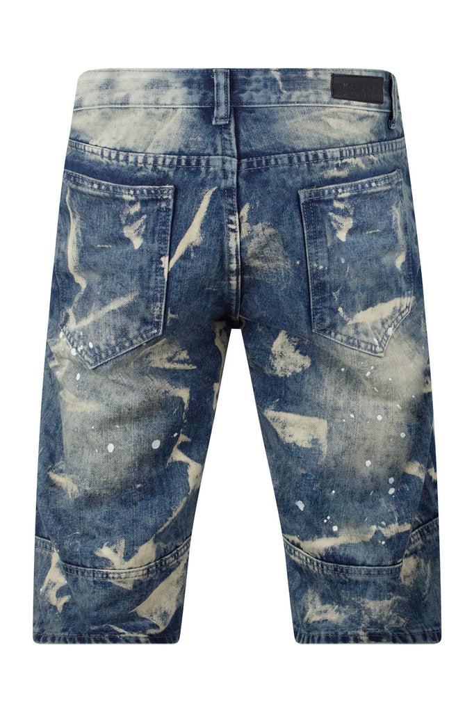 New Men Biker Paint Splattered Denim Blue Shorts