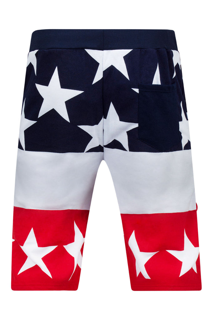 NEW American USA Shorts Stars Flag RED White Blue Sizes S-2X Drawstrings Elastic