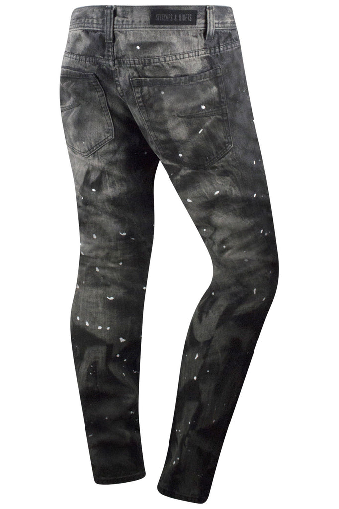 New Men Premium Black Biker Jeans Paint Splattered