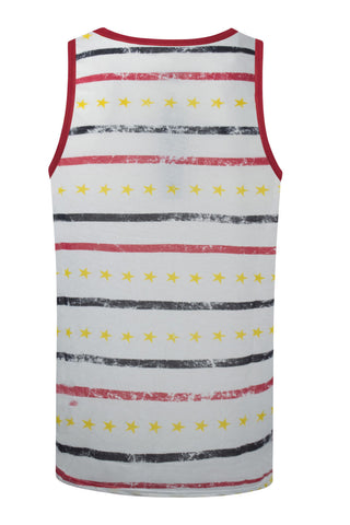 f8b372589de814 NEW Men White Tank Top Strips Chest Pockets Golden Stars Red Blue Sizes S M  L XL